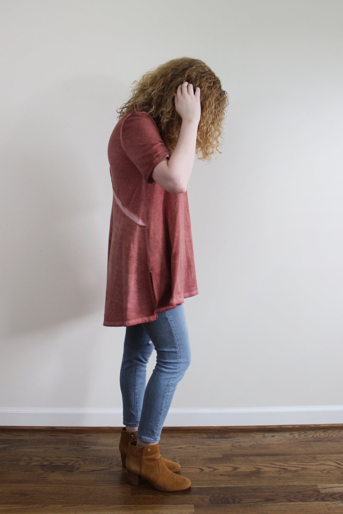 Talia French Terry Tunic - Red and Moon