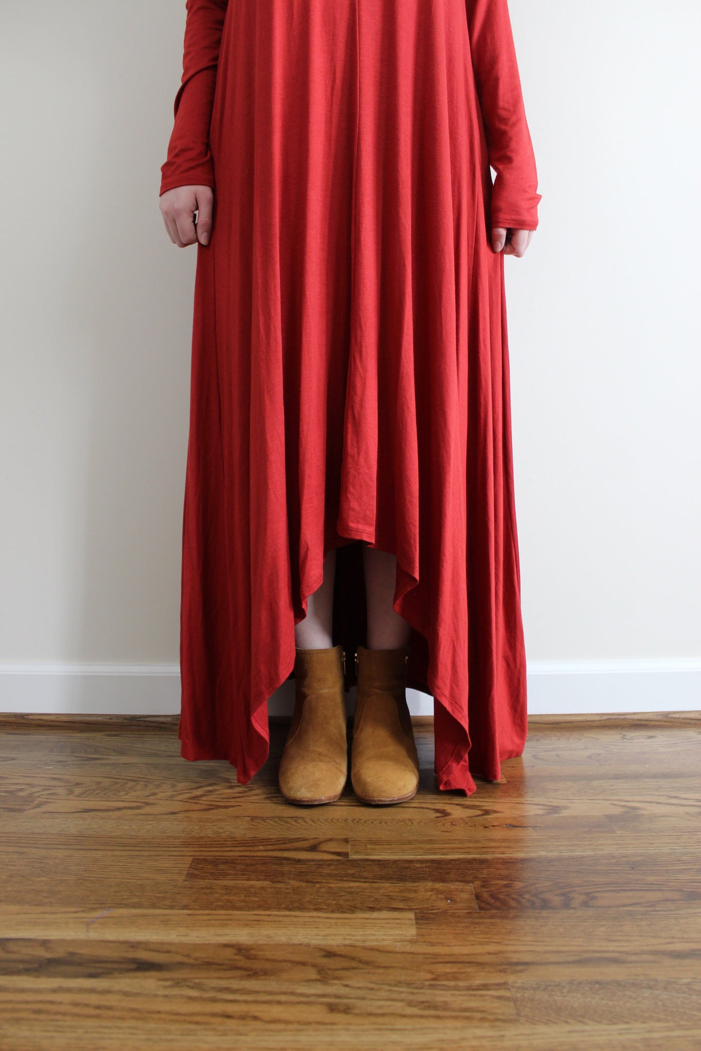 Slit Maxi Dress - Red and Moon