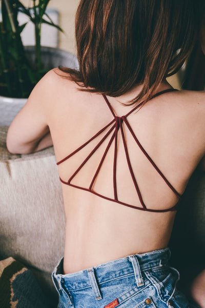 Isabelle Strappy Bralette - Maroon - Red and Moon