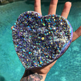 Rainbow Aura Amethyst heart no.2
