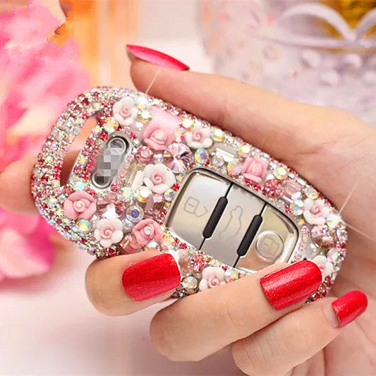 Bling Car Key Holder with Rhinestones for Audi - Pink