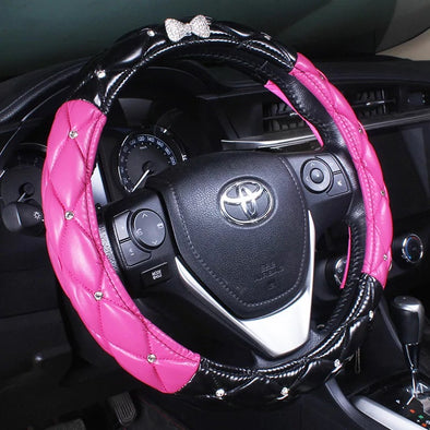 Black and Pink Leather Steering wheel cover with Bling Bow
