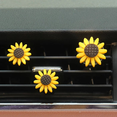 Set of 3 Sunflowers Car Air Vent Decoration with Freshener DIY clip