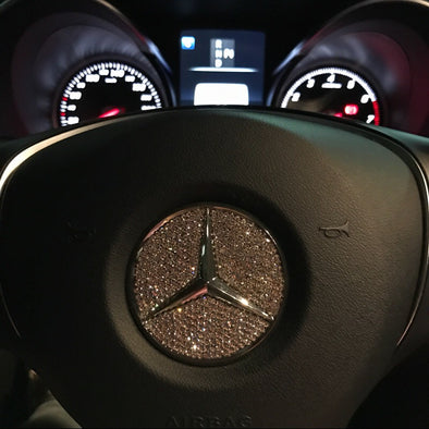 Bling Mercedes Benz Emblem for Steering Wheel LOGO Sticker Decal
