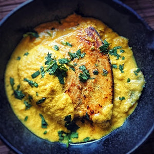Pan Fried Swordfish with a Turmeric & Ginger Sauce