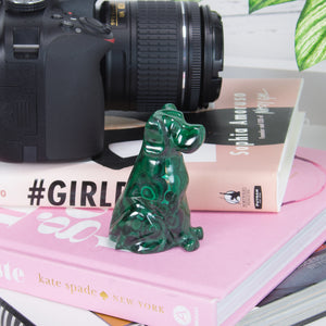 Malachite Dog Sculpture