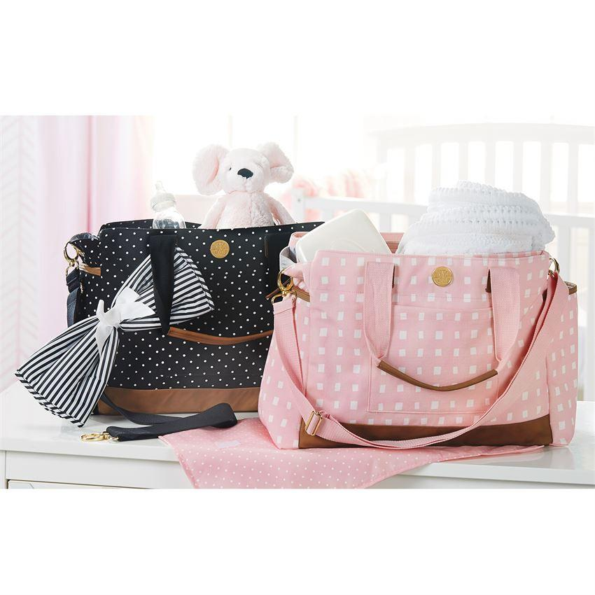Classic Monogrammed Large Mud Pie Black Mini Dot Diaper Bag, accessories, Mud Pie, - Sunny and Southern,