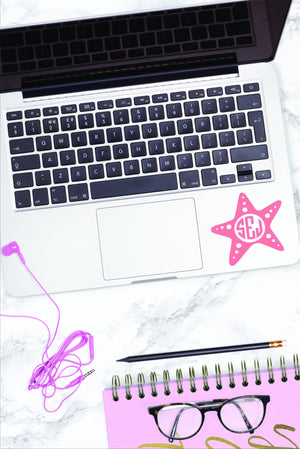 Monogrammed Vinyl Decal Starfish