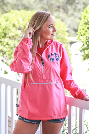 Lilly Circle Monogrammed Womens Anorak Windbreaker - No Liner, Ladies, Charles River, - Sunny and Southern,