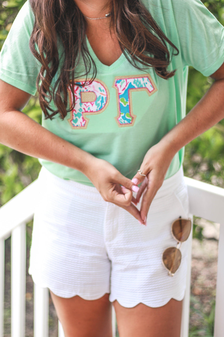 Lilly Greek Double Stitch Bella + Canvas Slouchy Tee V-Neck, , Sunny and Southern, - Sunny and Southern,