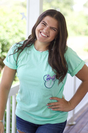 Lilly Minnie Monogrammed Short Sleeve Pocket Tee, Ladies, Sunny and Southern, - Sunny and Southern,