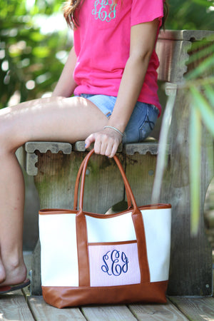 Classic Monogrammed Canvas Seersucker Tote, Accessories, Sunny and Southern, - Sunny and Southern,