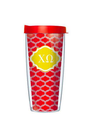 16 Ounce Sorority Tumbler Clear Quaterfoil, Accessories, Signature, - Sunny and Southern,