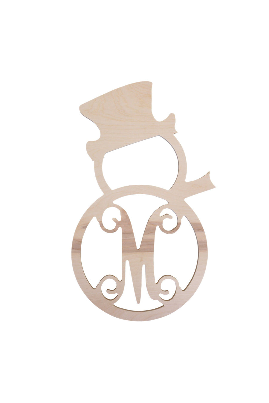 Monogrammed Single Initial Wood Snowman, Home, WB, - Sunny and Southern,