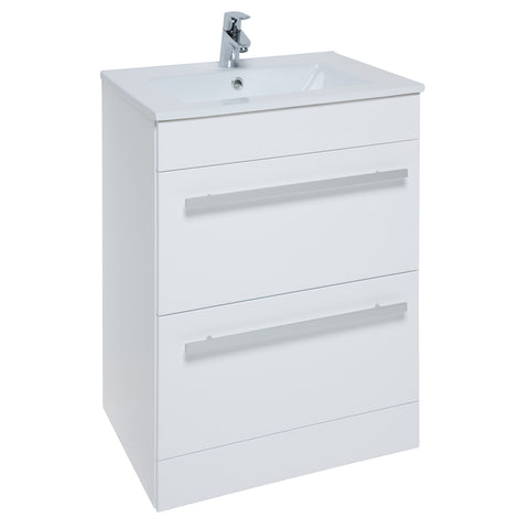 K-Vit Purity 600mm Floor Standing 2 Drawer Vanity Unit & Basin - White