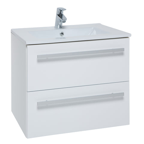 K-Vit Purity 600mm Wall Hung 2 Drawer Vanity Unit & Basin - White