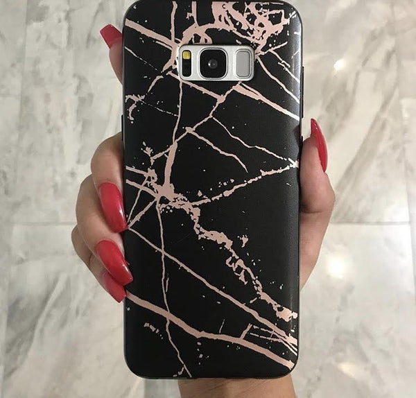 Black and Rose Chrome Marble Samsung Case GALAXY S8 PLUS - CASES A LA MODE