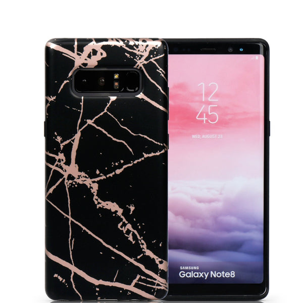 Black and Rose Chrome Marble Samsung Case NOTE 8 - CASES A LA MODE
