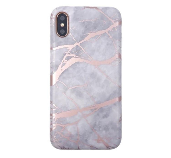 White Marble Rose Gold Chrome iPhone Case IPHONE X/S - CASES A LA MODE