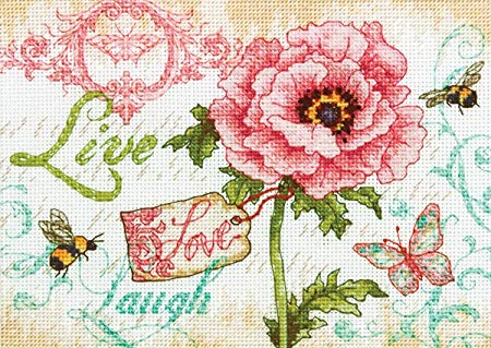 Dimensions The Gold Collection Counted Cross Stitch Kit - Live Love Laugh