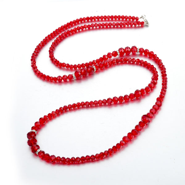 Ruby Red Crystal Deco Necklace | VaVaVoo Jewelry