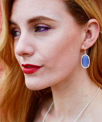 Small Silver Pamela Earrings in Bright Blue