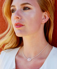 Pamela Light Pink Quartz Oval Pendant on Short 12k Gold Chain