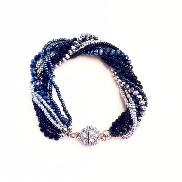 Midnight Black, Blue & Silver Crystal Bracelet