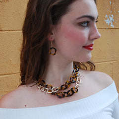Tortoise and Gold Link Earrings