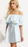 EMBROIDERED SKY BLUE OFF SHOULDER
