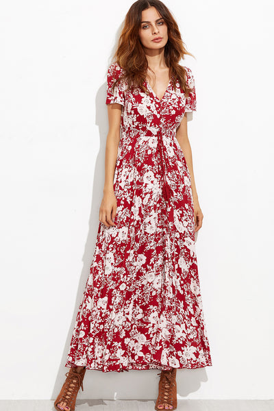 FLOWY RED AND WHITE FLORAL MAXI DRESS