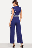 RUFFLE ARMHOLE SELF BELTED WIDE LEG JUMPSUIT