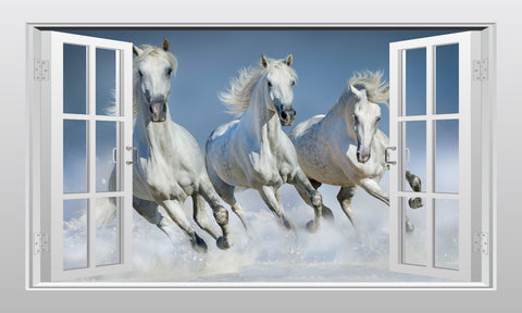 3 White horses galloping in the snow 3D Window Scape wall art sticker - Enhance With Vinyl