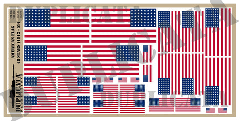 American Flag - 48 Stars (1912 to 1959) - 1/72, 1/48, 1/35, 1/32 Scales - Duplicata Productions