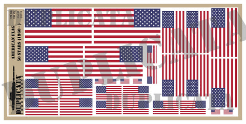 American Flag - 50 Stars (1960 to Present Day) - 1/72, 1/48, 1/35, 1/32 Scales - Duplicata Productions