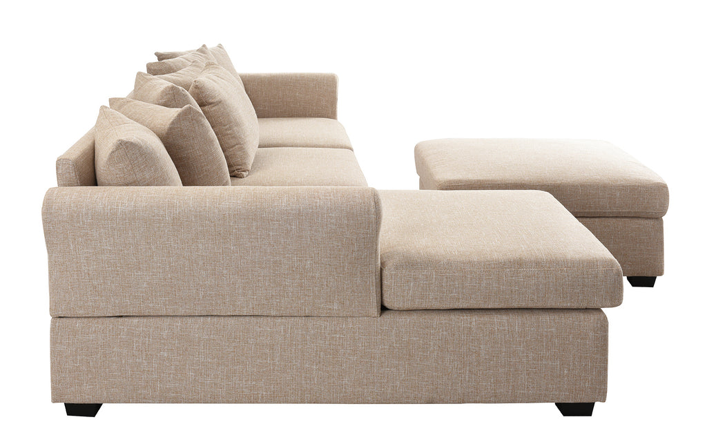 Montes Traditional Sectional Sofa With Ottoman Sofamania Com
