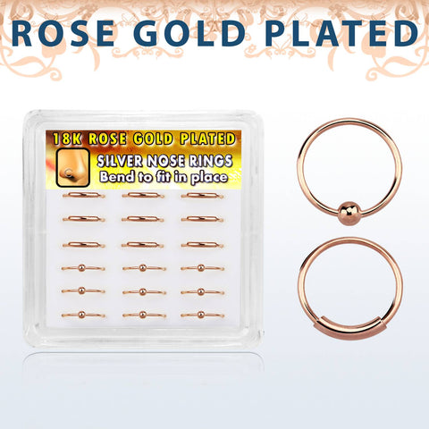 Nose Hoops - Rose Gold 18 Piece Box