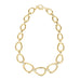 Gold Tone Hammered Oval Links with Crystal Rhinestones Necklace