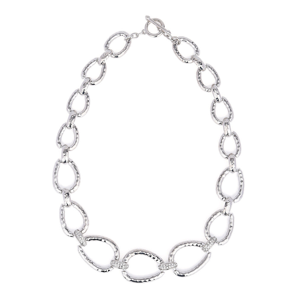 Silver Tone Hammered Oval Links with Crystal Rhinestones Necklace