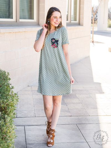Pocket Full of Posies T-Shirt Dress with Floral Pocket