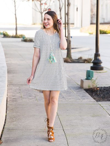 Summertime Fling Striped T-Shirt Dress with Back Knot
