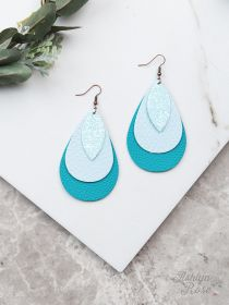 Turquoise Leather Teardrop Texas Cutout Earrings, Gold