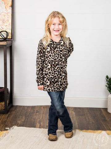 Long Sleeve Girl's Minnie's Leopard Print W/Gold Sequin