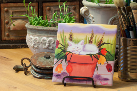 Flower Pot Kitties - Ceramic Tile - Cranky Cat Collection™ by Cindy Schmidt