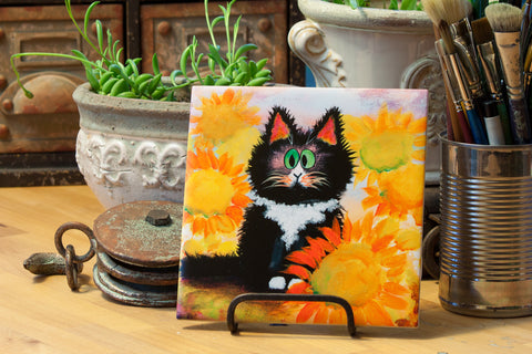 Tuxedo Cat - Ceramic Tile - Cranky Cat Collection™ by Cindy Schmidt