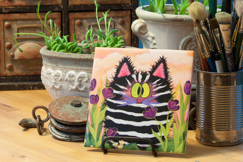 Ceramic Tile - Zebra Kitty - Cranky Cat Collection™ by Cindy Schmidt