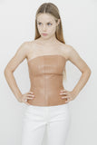 NUDE LEATHER BUSTIER TOP