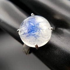 Moonstone Full Moon Sterling Silver Ring Size 7.5