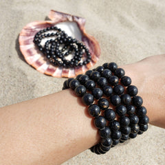 Genuine Nuummite Stretch Bead Bracelet