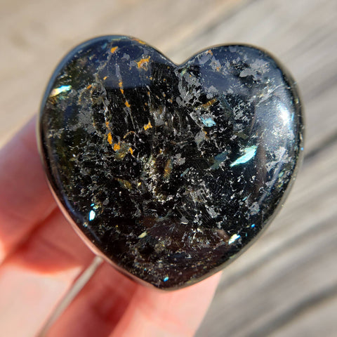 Rare Nuummite Blue Flash Heart